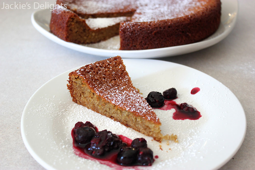 Almond Honey Cake with Berry Syrup + review of Vibrant Food